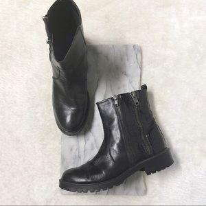 Zara Ankle Double Zipper Combats Boots Sz 10.5